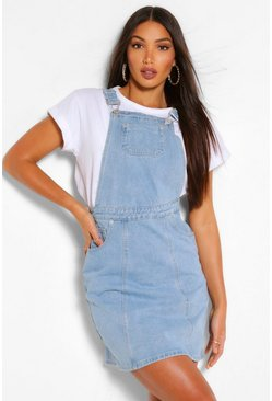 Light blue blue Tall Denim Pocket Pinafore Dress
