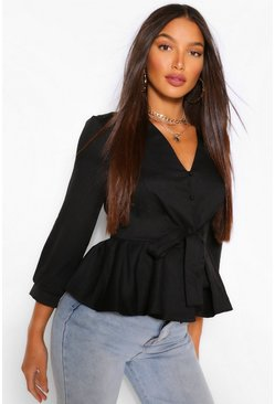 Black Tall Tie Waist V Neck Blouse