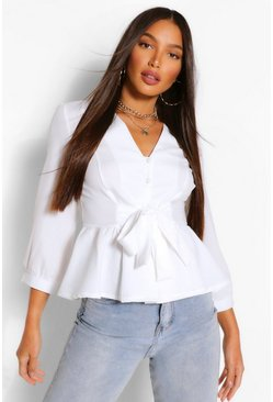 Ivory white Tall Tie Waist V Neck Blouse