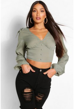 Khaki Tall Bow Detail Ruched Bust Crop Top