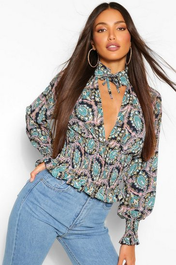 Black Tall Paisley High Neck Keyhole Blouse