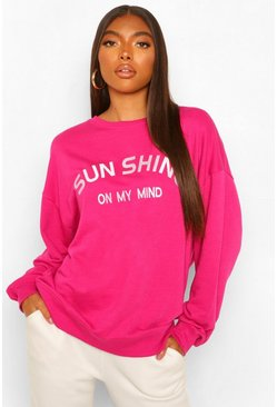 Cerise pink Tall 'Sunshine' Slogan Sweat Top