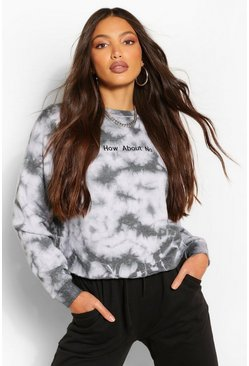 "Tall Sweatshirt in Batik-Optik mit ""How About No""-Slogan, Schwarz"