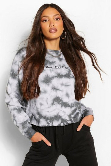 Black Tall Tie Dye 'How About No' Slogan Sweat Top