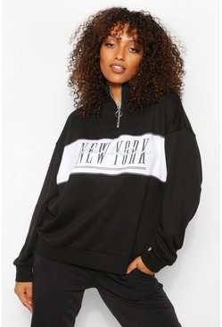 "Tall Sweatshirt mit ""New York""-Slogan, Schwarz"