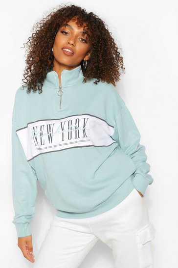 Sage green Tall 'New York' Slogan Sweat Top