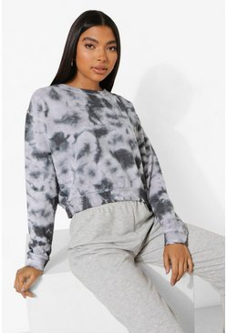 Black Tall Tie Dye Oversized Sweat Top