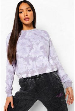 Lilac purple Tall Tie Dye Oversized Sweat Top