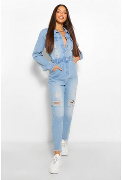 Mid blue blue Tall Distressed Raw Hem Denim Boilersuit