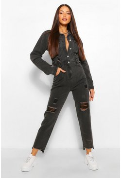Washed black Tall Distressed Raw Hem Denim Boilersuit
