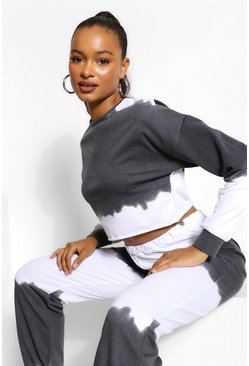 Black Tall Tie Dye Cropped Sweat Top