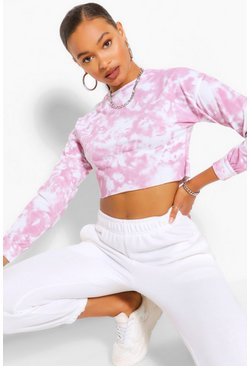 Pink Tall Loopback Tie Dye Cropped Sweat