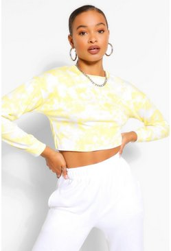 Yellow Tall Loopback Tie Dye Cropped Sweat