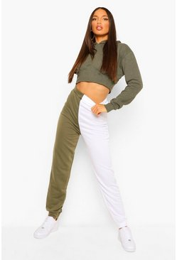 Khaki Tall Loopback Colour Block Sweat Joggers