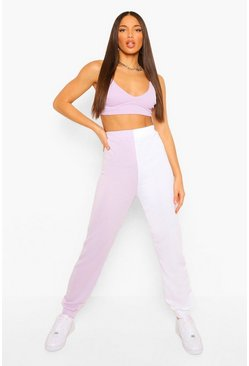 Lilac purple Tall Loopback Colour Block Sweat Joggers