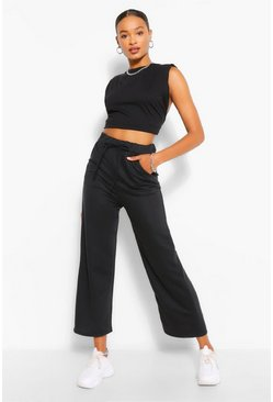 Black Tall Loopback Culotte Pocket Sweat Pants