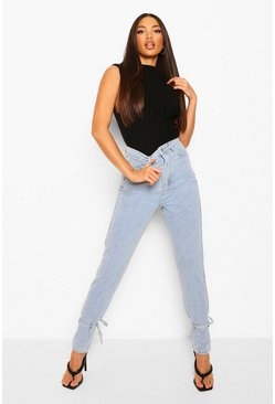 Light blue blue Tall Denim Tie Ankle Mom Jeans