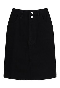 Black Tall Denim Pocket Mini Skirt