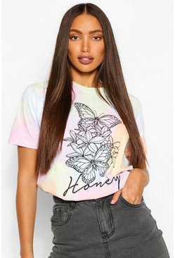 Lilac purple Tall Tie Dye Butterfly Print T-Shirt