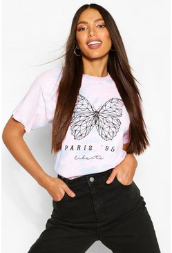 Lilac purple Tall Pastel Tie Dye Butterfly Print T-Shirt
