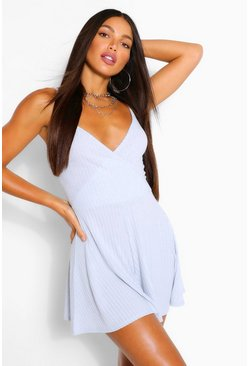 Blue Tall Rib Flippy Playsuit