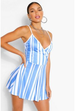 Blue Tall Stripe Flippy Playsuit