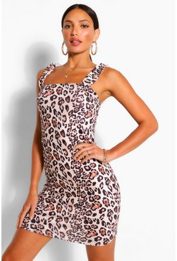 Brown Tall Leopard Print Mini Sun Dress