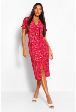 Red Tall Woven Ditsy Floral Print Knot Front Midi Dress