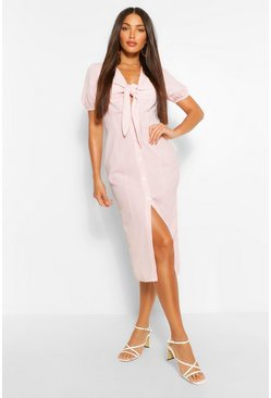 Pink Tall Woven Gingham Print Knot Front Midi Dress