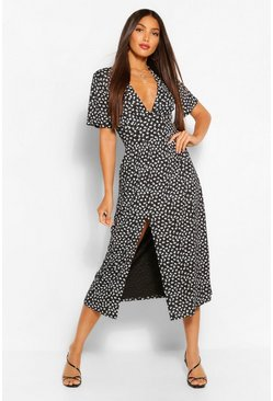 Black Tall Woven Floral Spot Print Midi Dress