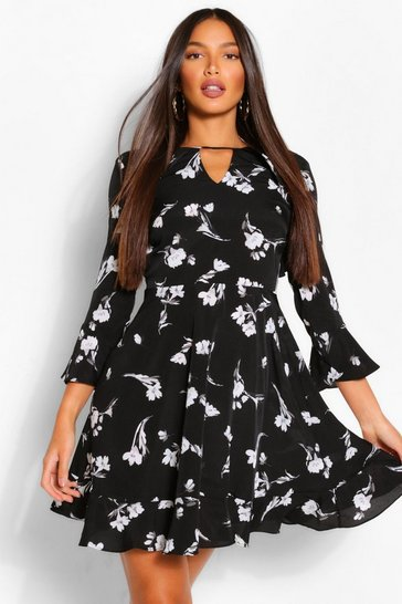 Black Tall Woven Floral Print Skater Dress