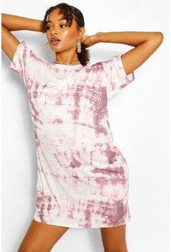 Tall Robe T-shirt oversize effet tie-dye, Corail rose