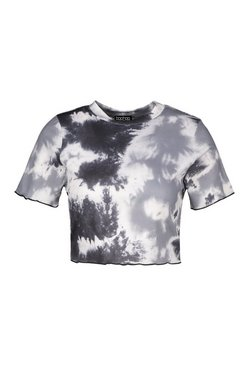 Black Tall Rib Tie Dye Crop Top
