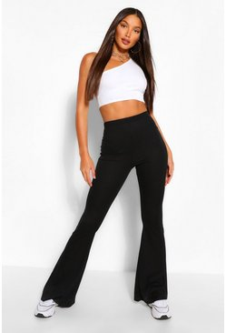 Black Tall Soft Rib Flared Trousers