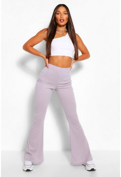 Grey Tall Soft Rib Flared Trousers
