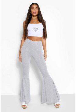 Grey Tall Jersey Extreme Flared Trousers