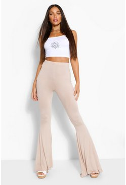 Stone beige Tall Jersey Extreme Flared Trousers