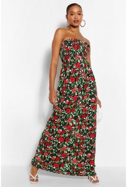 Red Tall Floral Shirred Bandeau Maxi Dress