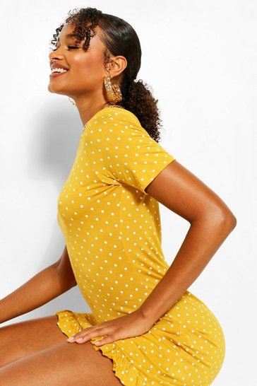 Yellow Tall Polka Dot V-Neck Frill Hem Shift Dress