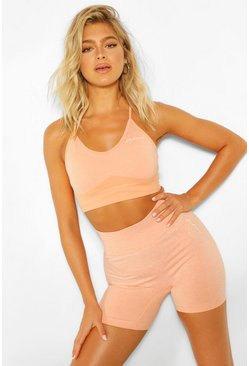 Peach orange Tall Fit Seamfree Contrast Gym Shorts