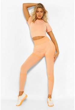 Peach Tall Fit Seamfree Contrast Gym Leggings
