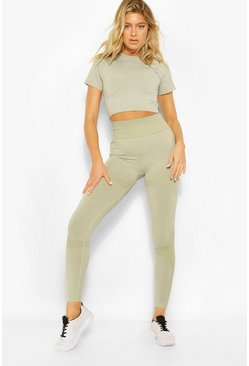 Sage green Tall Fit Seamfree Contrast Gym Leggings