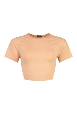 Peach Tall Fit Seamfree Contrast Crop Sports Top