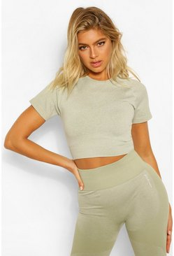 Sage green Tall Fit Seamfree Contrast Crop Sports Top