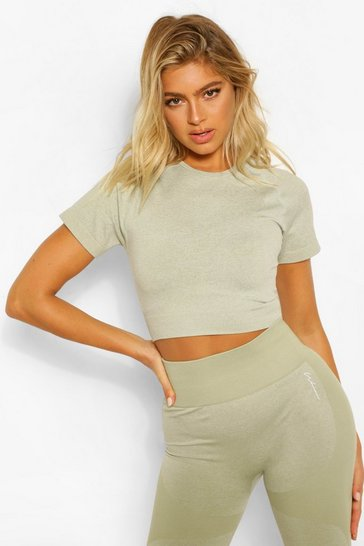 Sage green Green Tall Fit Seamfree Contrast Crop Sports Top