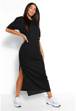 Black Tall Rib Side Split Maxi Dress