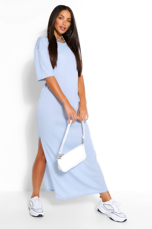 Tall Rib Side Split Maxi Dress | Boohoo UK