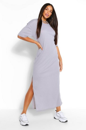 Grey Tall Rib Side Split Maxi Dress