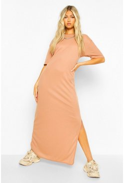 Toffee beige Tall Rib Side Split Maxi Dress