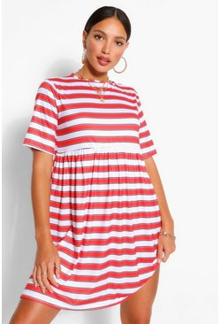 Red Tall Jersey Stripe Smock Dress